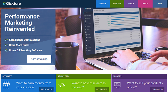 Clicksure homepage