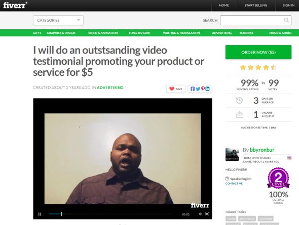Fiverr testimonial screenshot