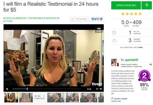 fake testimonial girl