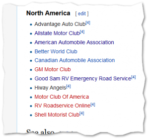 Where is the motor club of america wikipedia page for Allstate motor club membership