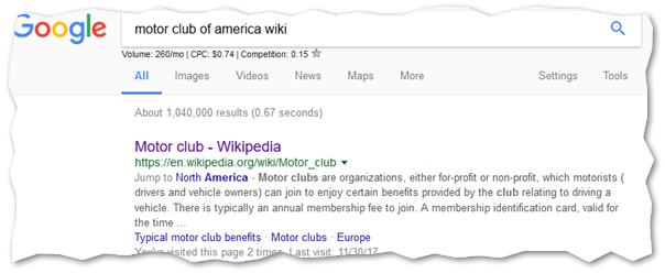Where Is The Motor Club Of America Wikipedia Page