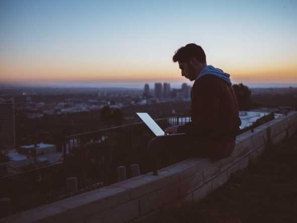 writing at dusk