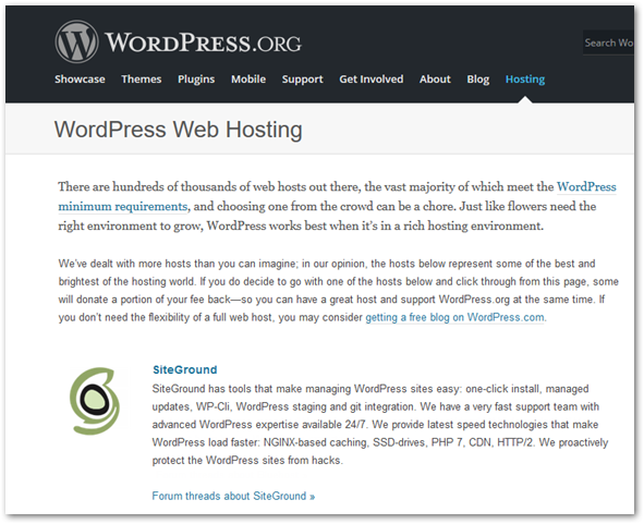 WordPress.org recommends