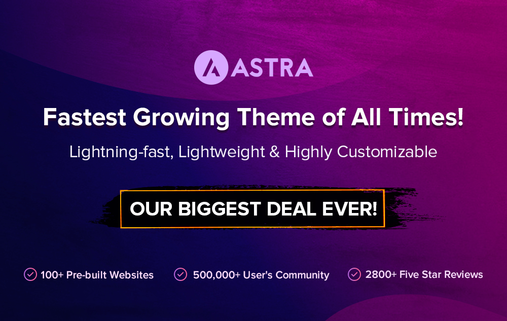 Astra Theme Black friday banner