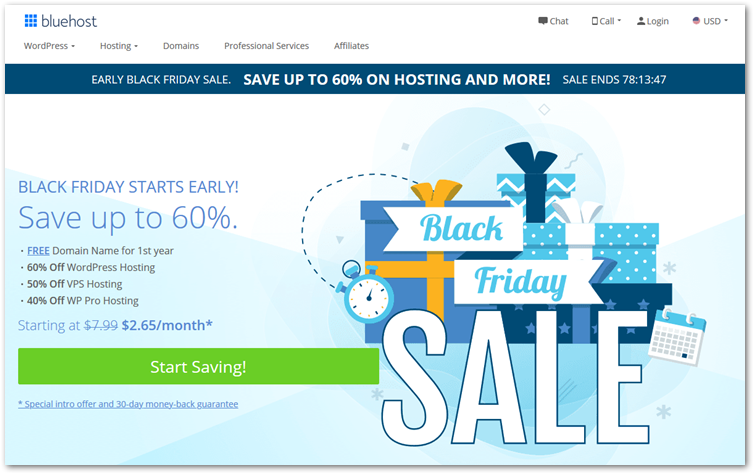 Bluehost black friday 2019 homepage