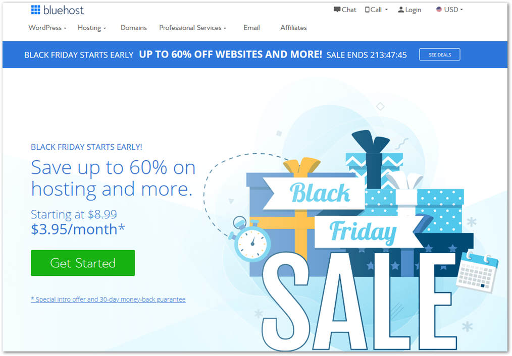 Bluehost black friday 2020 sales page