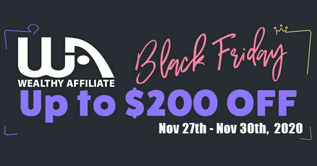 Wealthy Affiliate Black Friday 2020 banner