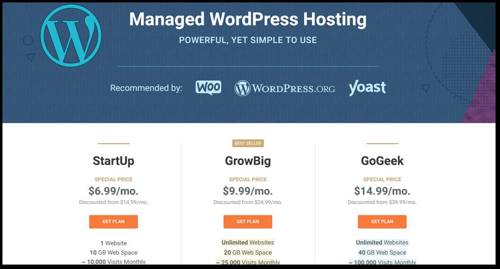 SiteGround's WordPress hosting plans
